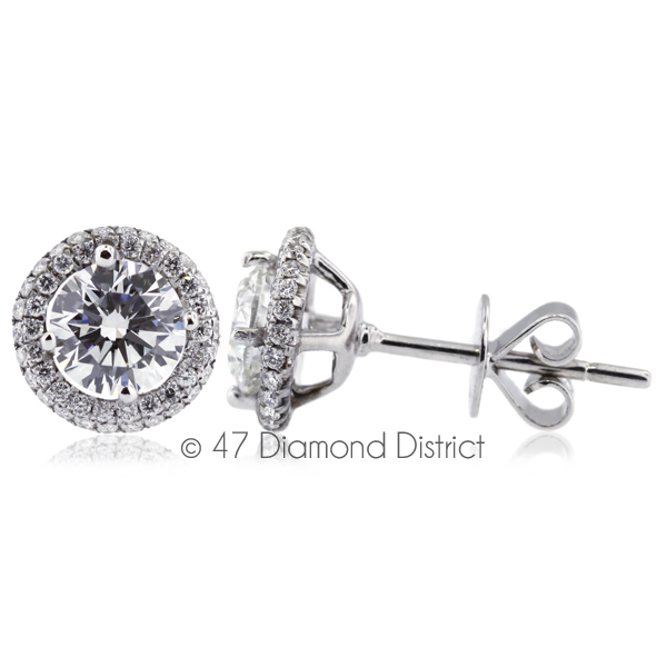 3ct-tw-F-SI2-Round-Cut-Natural-Certified-Diamonds-18K-Gold-Halo-Stud-Earrings thumbnail 2