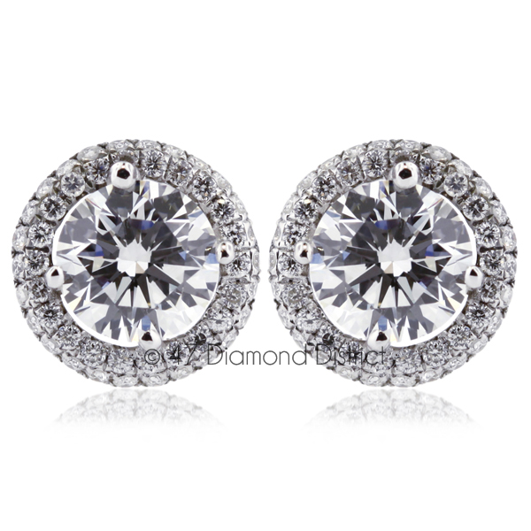 3ct-tw-F-SI2-Round-Cut-Natural-Certified-Diamonds-18K-Gold-Halo-Stud-Earrings