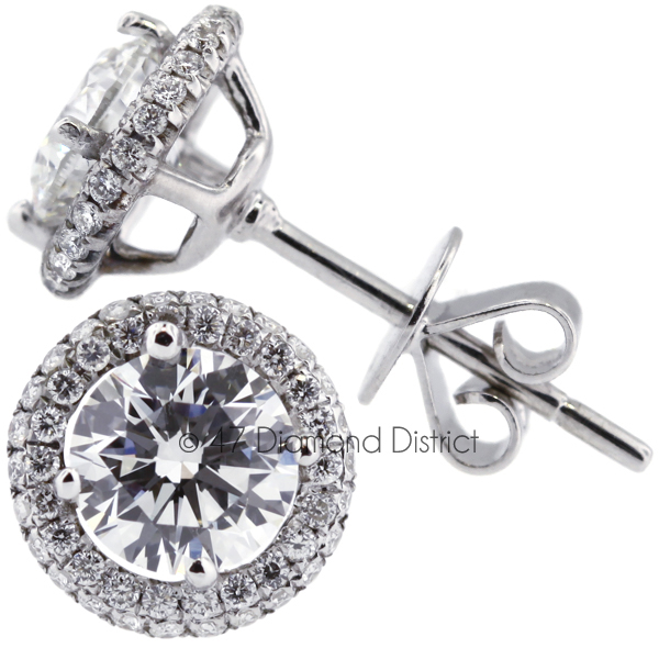 3ct-tw-F-SI2-Round-Cut-Natural-Certified-Diamonds-18K-Gold-Halo-Stud-Earrings thumbnail 3