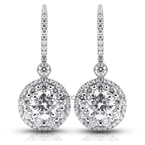 3-96CT-Total-H-SI2-Round-Cut-Natural-Certified-Diamonds-14K-Gold-Halo-Dangles