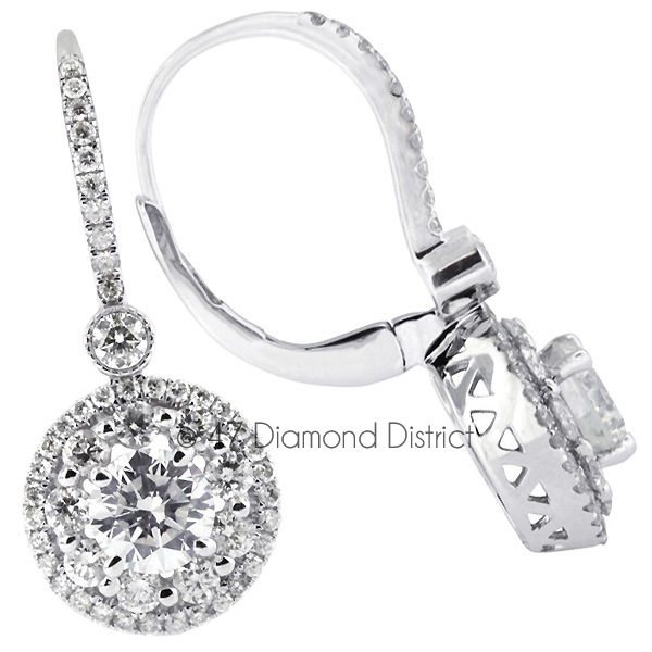 3-96CT-Total-H-SI2-Round-Cut-Natural-Certified-Diamonds-14K-Gold-Halo-Dangles thumbnail 3