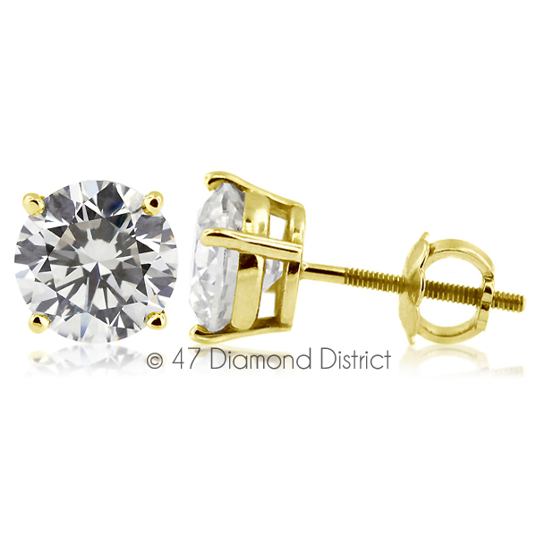3-06ct-tw-D-SI1-Round-Cut-Earth-Mined-Certified-Diamonds-14K-Gold-Stud-Earrings thumbnail 2