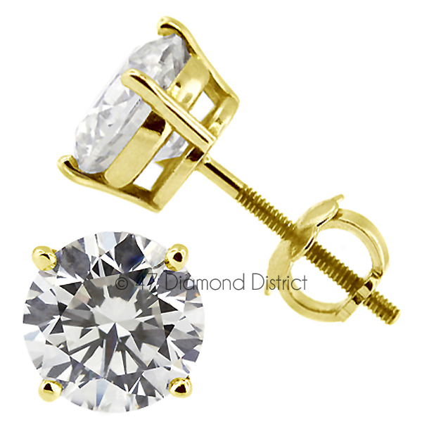 3-06ct-tw-D-SI1-Round-Cut-Earth-Mined-Certified-Diamonds-14K-Gold-Stud-Earrings thumbnail 3