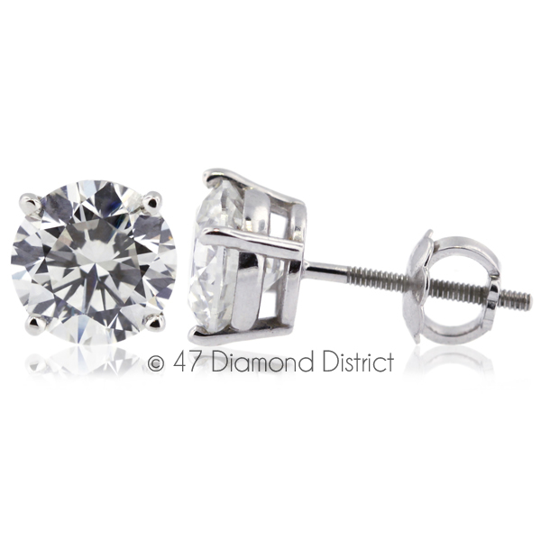2-55ct-tw-D-SI1-Round-Cut-Earth-Mined-Certified-Diamonds-14K-Gold-Stud-Earrings thumbnail 2