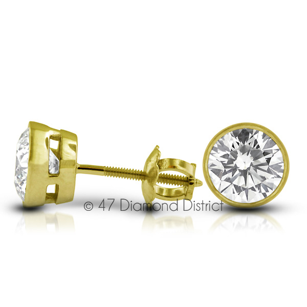 3-03ct-tw-D-SI1-Round-Earth-Mined-Certified-Diamonds-14K-Gold-Classic-Earrings thumbnail 2