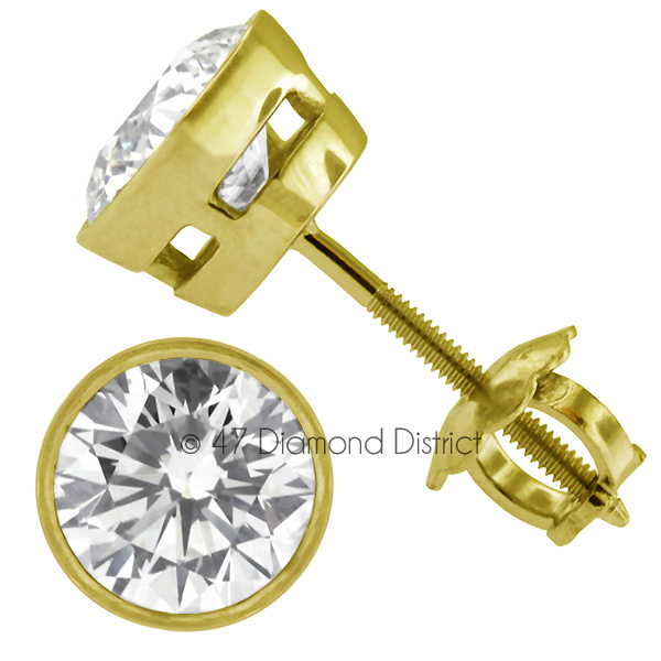 3-03ct-tw-D-SI1-Round-Earth-Mined-Certified-Diamonds-14K-Gold-Classic-Earrings thumbnail 3