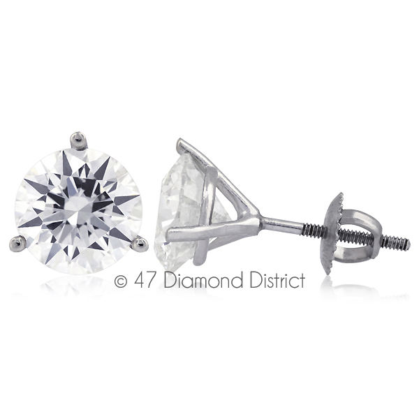 3-03ct-tw-D-SI2-Round-Cut-Earth-Mined-Certified-Diamonds-14K-Gold-Stud-Earrings thumbnail 2