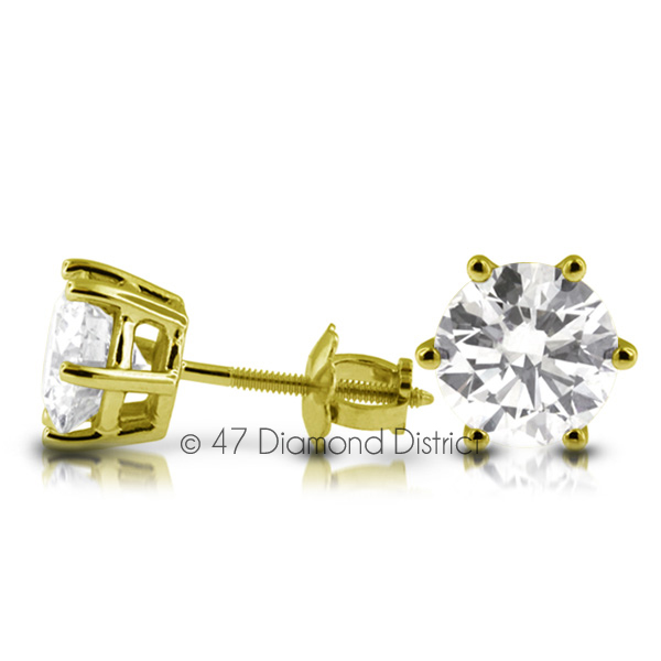 2-53ct-tw-D-SI1-Round-Cut-Earth-Mined-Certified-Diamonds-14K-Gold-Classic-Studs thumbnail 2