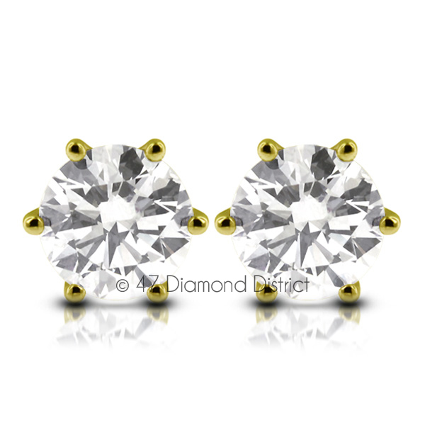 2-53ct-tw-D-SI1-Round-Cut-Earth-Mined-Certified-Diamonds-14K-Gold-Classic-Studs