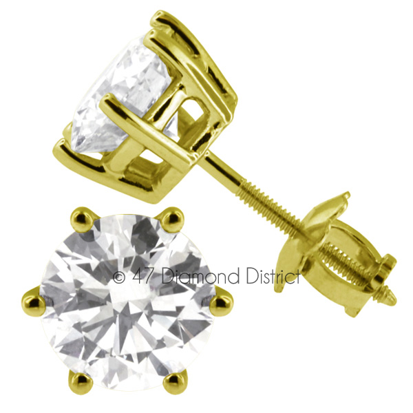 2-53ct-tw-D-SI1-Round-Cut-Earth-Mined-Certified-Diamonds-14K-Gold-Classic-Studs thumbnail 3