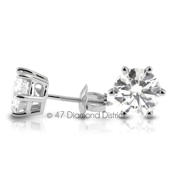 3-03ct-tw-F-SI2-Round-Cut-Natural-Certified-Diamonds-14K-Gold-Classic-Earrings thumbnail 2