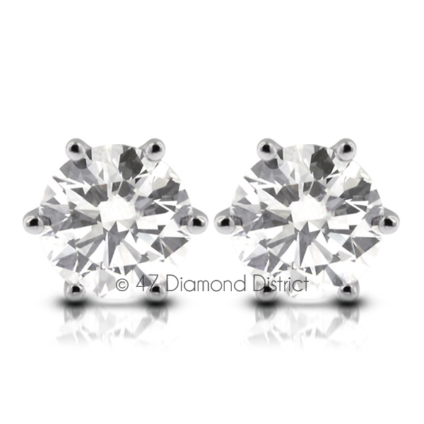 3-03ct-tw-F-SI2-Round-Cut-Natural-Certified-Diamonds-14K-Gold-Classic-Earrings