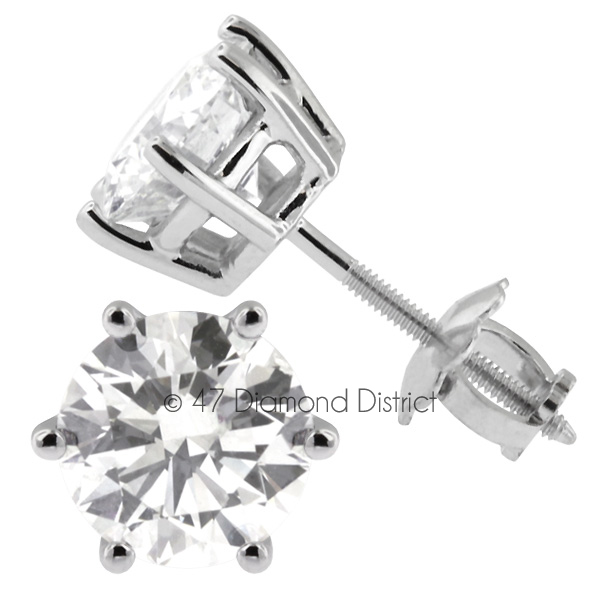 3-03ct-tw-F-SI2-Round-Cut-Natural-Certified-Diamonds-14K-Gold-Classic-Earrings thumbnail 3