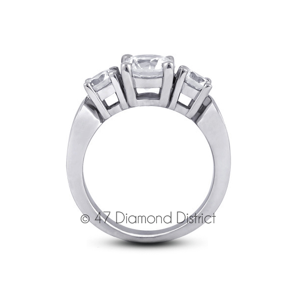 4-35ct-tw-D-SI1-Round-Natural-Certified-Diamonds-PT-950-Classic-Three-Stone-Ring thumbnail 3