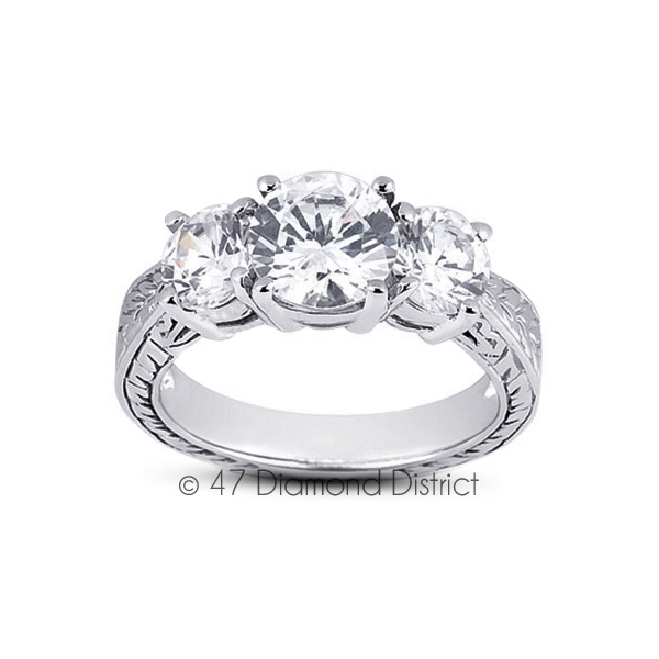 6-03-CT-I-VS2-Round-Natural-Diamonds-18K-Gold-Vintage-Style-Engagement-Ring thumbnail 2