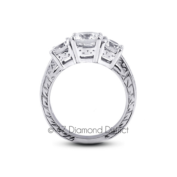 6-03-CT-I-VS2-Round-Natural-Diamonds-18K-Gold-Vintage-Style-Engagement-Ring thumbnail 3