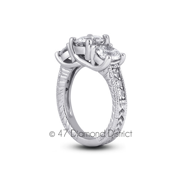 2-64-CT-G-SI1-Round-Natural-Diamonds-PT-950-Vintage-Style-Engagement-Ring