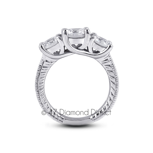 2-64-CT-G-SI1-Round-Natural-Diamonds-PT-950-Vintage-Style-Engagement-Ring thumbnail 3