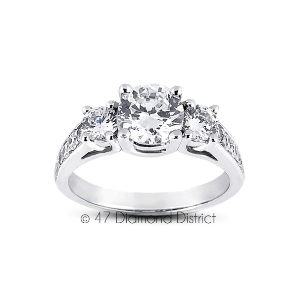 3-36ct-tw-F-SI2-Round-Natural-Certified-Diamonds-PT-950-Classic-Three-Stone-Ring thumbnail 2