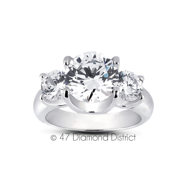 5-96-CT-F-SI2-Round-Natural-Certified-Diamonds-18K-Gold-Classic-Three-Stone-Ring thumbnail 2